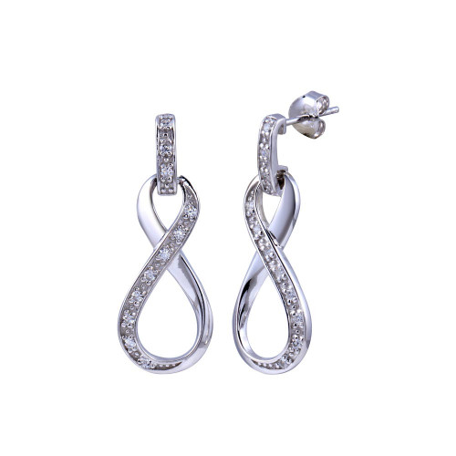 Wholesale Sterling Silver 925 Rhodium Plated Infinity Clear CZ Dangling Stud Earrings - BGE00184