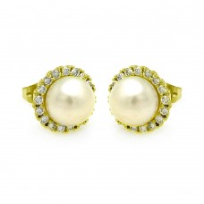 Wholesale Sterling Silver 925 Gold Plated Round CZ Center Fresh Water Pearl Stud Earrings - BGE00253GP