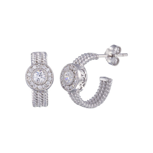 Wholesale Sterling Silver 925 Rhodium Plated Crescent Center Round CZ Semi-Huggie Earrings - BGE00322