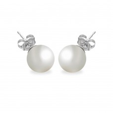 Wholesale Sterling Silver 925 Rhodium Plated Pearl Stud Earrings - BGE00330