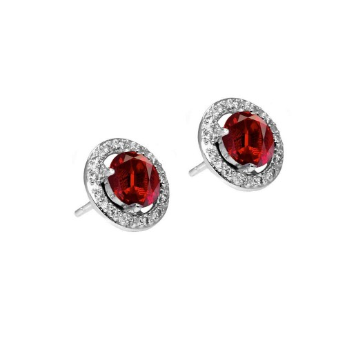 Wholesale Sterling Silver 925 Rhodium Plated Red and Clear Round Pave CZ Stud Earrings - BGE00331
