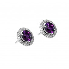 Wholesale Sterling Silver 925 Rhodium Plated Purple and Clear Round CZ Stud Earrings - BGE00332