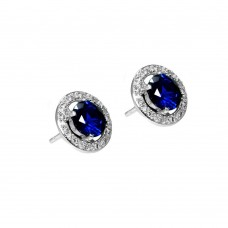 Wholesale Sterling Silver 925 Rhodium Plated Blue and Clear Round Pave CZ Stud Earrings - BGE00333