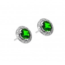 Wholesale Sterling Silver 925 Rhodium Plated Green and Clear Round Pave CZ Stud Earrings - BGE00334