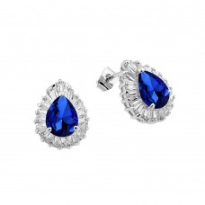 Wholesale Sterling Silver 925 Rhodium Plated Clear and Blue Teardrop Baguette CZ Stud Earrings - BGE00337