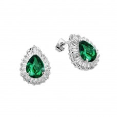 Wholesale Sterling Silver 925 Rhodium Plated Clear and Green Teardrop Baguette CZ Stud Earrings - BGE00338