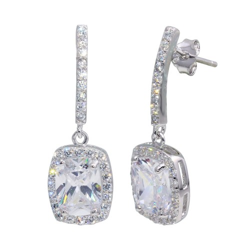 Wholesale Sterling Silver 925 Rhodium Plated Dangling Square CZ Earrings - BGE00380