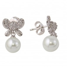 Wholesale Sterling Silver 925 Rhodium Plated Butterfly Earrings with Dangling Synthetic Pearl - BGE00422