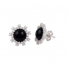 Wholesale Sterling Silver 925 Rhodium Plated Black Flower Stud Earrings with CZ - BGE00428