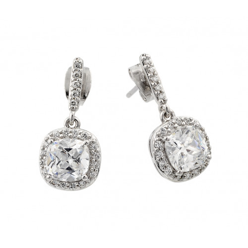 Wholesale Sterling Silver 925 Rhodium Plated Hanging Square Halo CZ Earrings - BGE00430