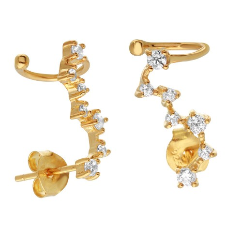 Wholesale Sterling Silver 925 Gold Plated Climbing Earrings with CZ Stones - BGE00491