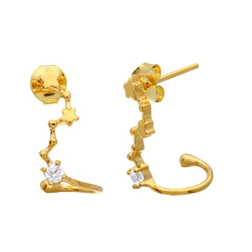 Wholesale Sterling Silver 925 Gold Plated Climbing Star Earrings with CZ Stones - BGE00492