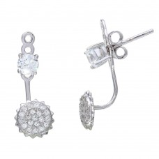 Sterling Silver Rhodium Plated CZ Stone and Sun Earrings - BGE00547