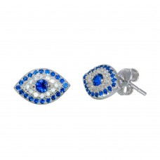Sterling Silver Rhodium Plated Evil Eye Stud Earrings with CZ - BGE00566