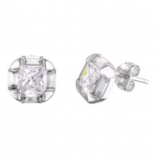 Sterling Silver Rhodium Plated CZ Stud Earrings - BGE00567