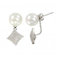 Wholesale Sterling Silver 925 Rhodium Plated Synthetic Pearl and Diamond-Shaped Front and Back Earrings with CZ - BGE00568