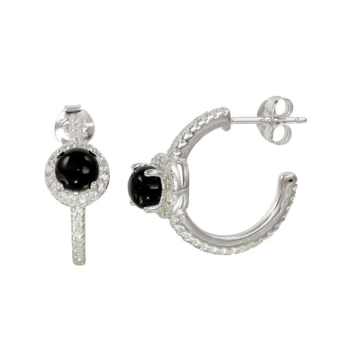 Wholesale Sterling Silver 925 Semi-Hoop CZ Earrings with CZ and Black Stone - BGE00569BLK