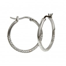 Wholesale Sterling Silver 925 Rhodium Plated Outside CZ Hoop Earrings - BGE00570