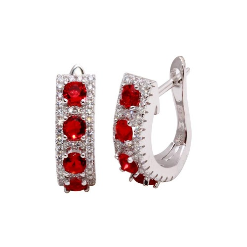 Wholesale Sterling Silver 925 Rhodium Plated Long Huggie Earrings with Red and Clear CZ - BGE00571