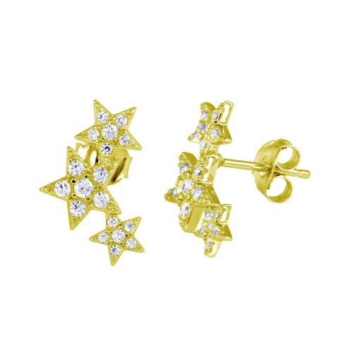 Wholesale Sterling Silver 925 Gold Plated Three Star Stud Earrings - BGE00573GP