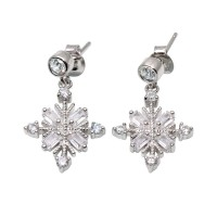 Wholesale Sterling Silver 925 Rhodium Plated Drop Snowflake Earrings - BGE00574