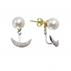 Wholesale Sterling Silver Rhodium Plated Synthetic Pearl and Crescent Front and Back Earrings with CZ - BGE00575