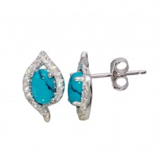 Wholesale Sterling Silver 925 Rhodium Plated Stud Earrings with Turquoise and CZ Stones - BGE00577TQ