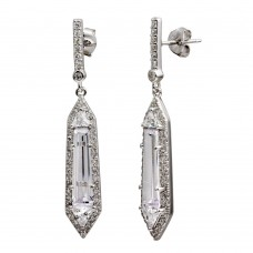 Wholesale Sterling Silver 925 Rhodium Plated Dangling Clear CZ Earrings - BGE00578CLR