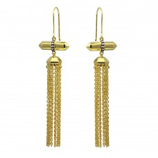 Wholesale Sterling Silver 925 Gold Plated Tassel Earrings with CZ - BGE00579