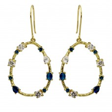 Wholesale Sterling Silver 925 Gold Plated Open Oval Hoop Earrings with Blue and Clear CZ - BGE00581