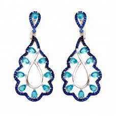 Wholesale Sterling Silver 925 Rhodium Plated Teal and Blue CZ Teardrop Earrings - BGE00582