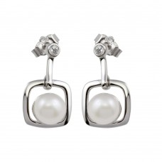 Wholesale Sterling Silver 925 Rhodium Plated Dangling Square Earrings with Synthetic Pearl and CZ - BGE00583