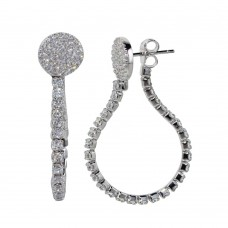 Wholesale Sterling Silver 925 Rhodium Plated Flexible Tennis Earrings with CZ - BGE00584