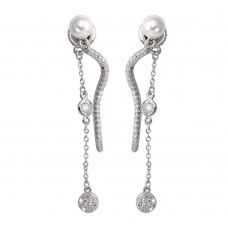 Wholesale Sterling Silver 925 Rhodium Plated Front and Back Dangling Earrings with CZ and Synthetic Pearl - BGE00585