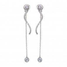 Wholesale Sterling Silver 925 Rhodium Plated Front and Back Dangling Earrings with CZ - BGE00586
