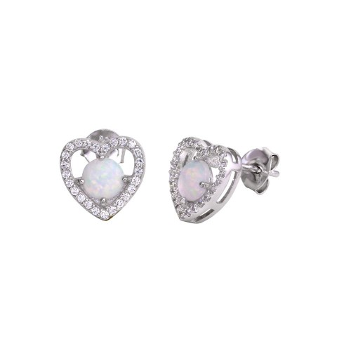 Wholesale Sterling Silver 925 Rhodium Plated Open Heart Stud Earrings with CZ and Synthetic Opals - BGE00588
