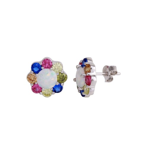 Wholesale Sterling Silver 925 Rhodium Plated Multi-Colored CZ Flower Stud Earrings - BGE00590