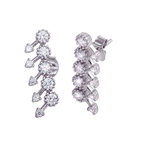 Wholesale Sterling Silver 925 Rhodium Plated 5 Arrow Stud Earrings with CZ - BGE00592