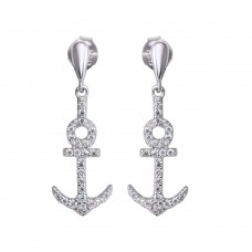 Wholesale Sterling Silver 925 Rhodium Plated Dangling Anchor Earrings with CZ - BGE00593