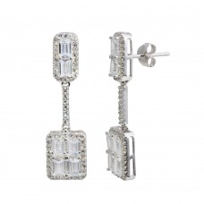 Wholesale Sterling Silver 925 Rhodium Plated Dangling Bar and Square Earrings with CZ - BGE00595