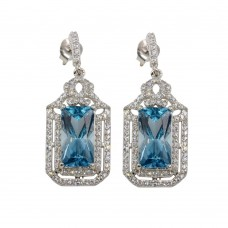 Wholesale Sterling Silver 925 Rhodium Plated Large Dangling Light Blue Earrings - BGE00601