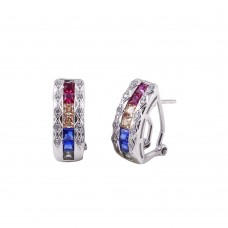 Wholesale Sterling Silver 925 Rhodium Plated Multi-Colored Clip On Hoop Earrings - BGE00602