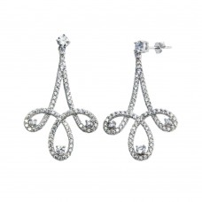 Wholesale Sterling Silver 925 Rhodium Plated Dangling Curvy Earrings with CZ - BGE00603