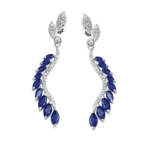 Wholesale Sterling Silver 925 Rhodium Plated Dangling Feather Earrings with Blue CZ - BGE00604BLU