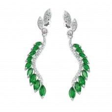 Wholesale Sterling Silver 925 Rhodium Plated Dangling Feather Earrings with Green CZ - BGE00604GRN