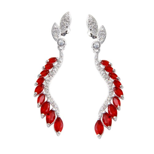 Wholesale Sterling Silver 925 Rhodium Plated Dangling Feather Earrings with Red CZ - BGE00604RED
