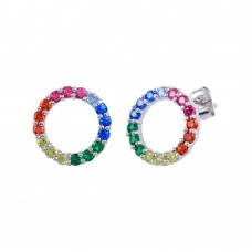 Wholesale Sterling Silver 925 Rhodium Plated Rainbow Open Circle Stud Earrings - BGE00605