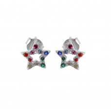 Wholesale Sterling Silver 925 Rhodium Plated Rainbow CZ Stud Earrings - BGE00606