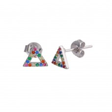 Wholesale Sterling Silver 925 Rhodium Plated Open Triangle Stud Earrings with Multi-Colored CZ - BGE00611