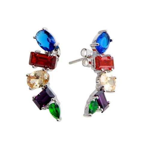 Wholesale Sterling Silver 925 Rhodium Plated Multi-Colored and Multi-Shaped CZ Stone Earrings - BGE00612